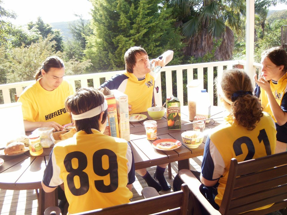Australia National University shares a pre-game meal together. Credit: Tashi Roberts