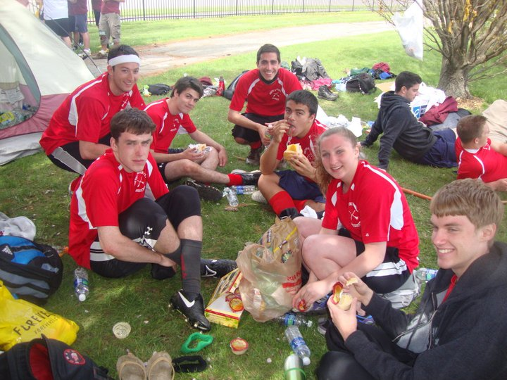 The Boston University team shares a snack during a tournament. Credit: Katie Stack