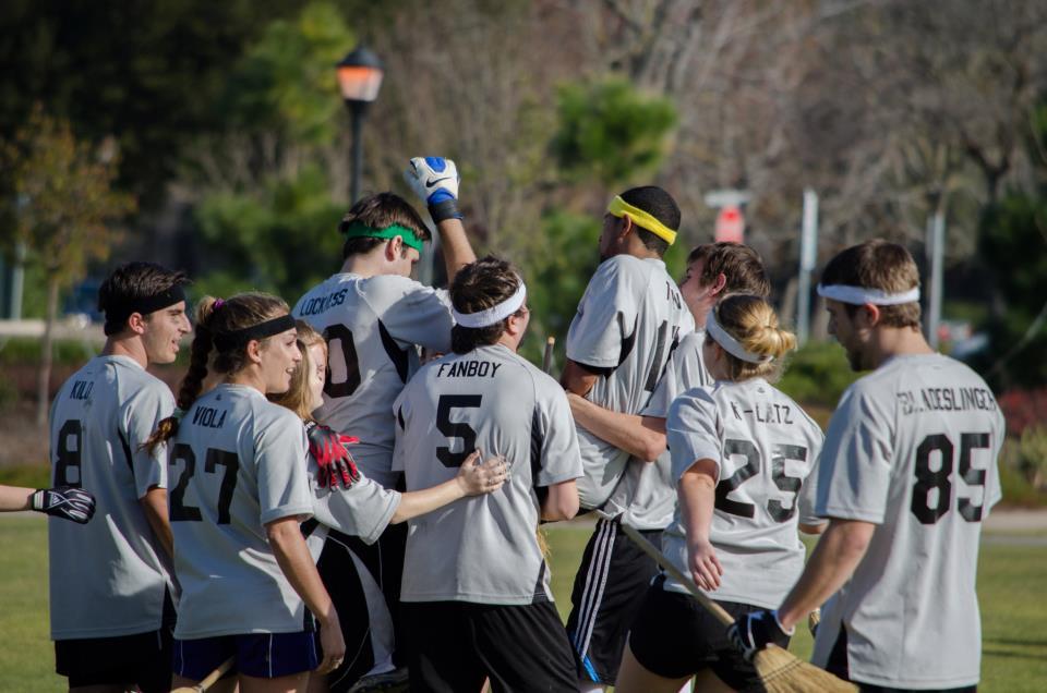 Santa Barbara celebrates after a winning snitch catch by Michael Montgomery.  Credit: Kat Ignatova