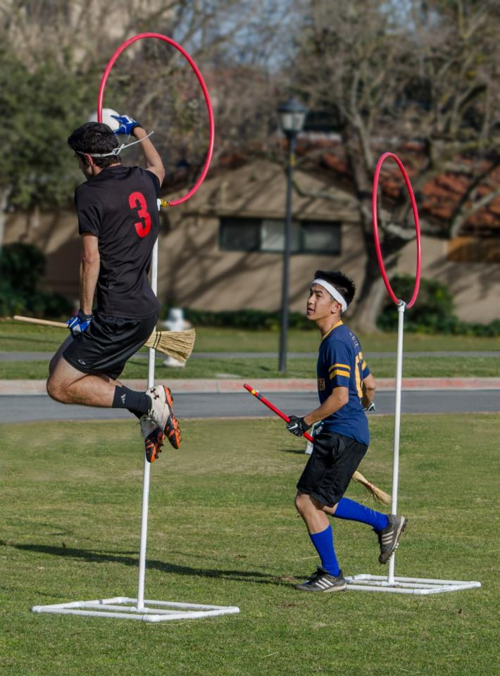 Michael Mohlman dunks a goal through for the Lost Boys against San Jose State.  Credit: Kat Ignatova