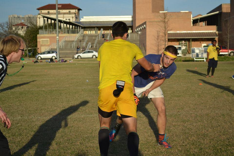 Cullen Carter (UTSA) taking a turn at seeker against snitch Augustine Monroe in the championship match vs SHSU. Credit: Brad Armentor