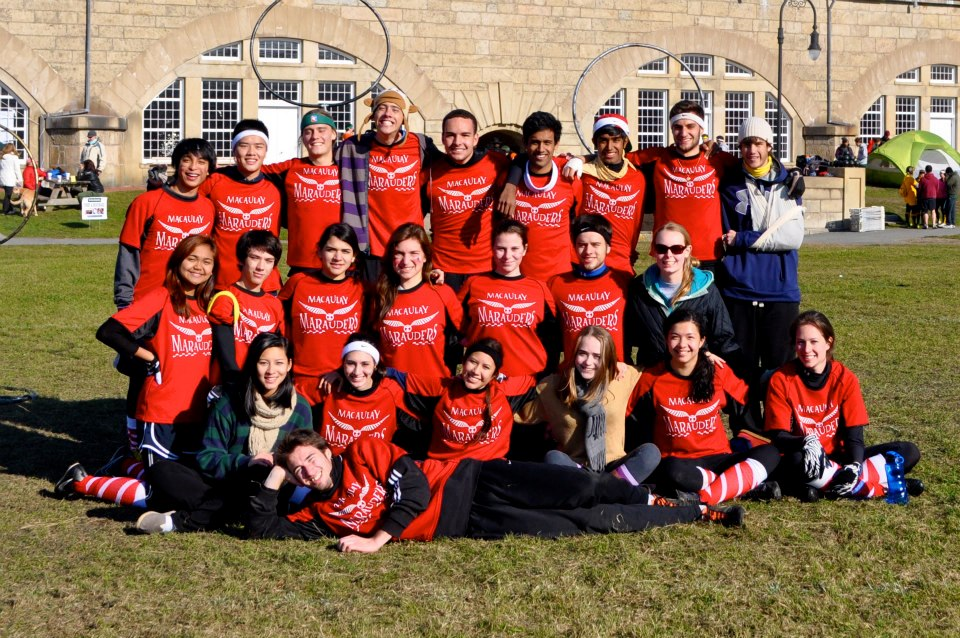 The Macaulay team poses at the Northeast Regional Championships. Credit: Macaulay Marauders Quidditch Team