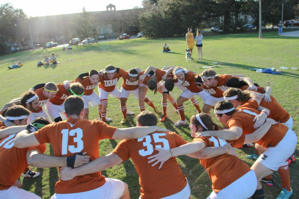 The Texas team gets ready before one of their games at the Mardi Gras Cup. (Credit: Lauren Carter)