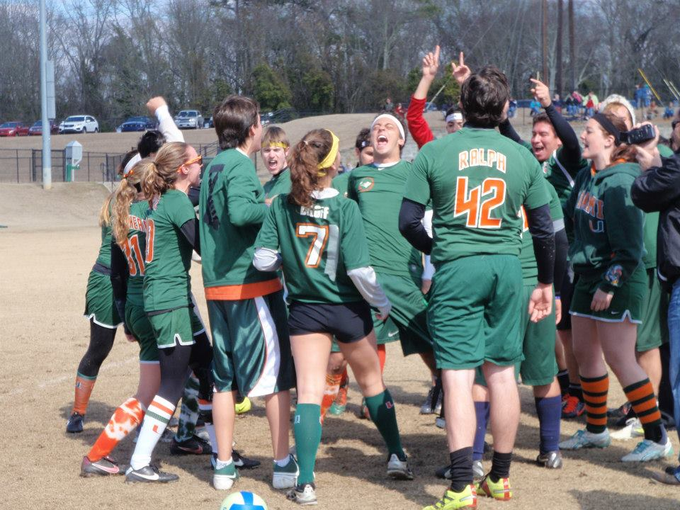 The team celebrates a victory at the IQA South Regionals. Credit: Ali Fishman