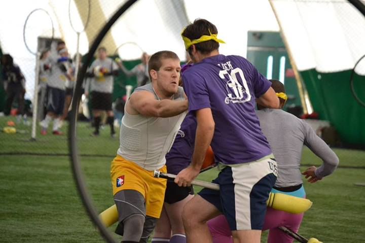 The semifinal matchup between Grey and Purple hinged on the grab of seeker and tournament MVP Keir Rudolph. Credit: Paxton Casey